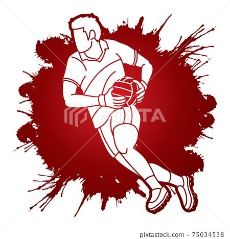 Gaelic Football Man Player Cartoon Sport Graphic Vector 75034538