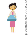 Material of the person. Image illustration of the party. Woman in formal dress. 75035782