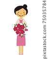 Material of the person. Image illustration of the party. Woman in formal dress. 75035784