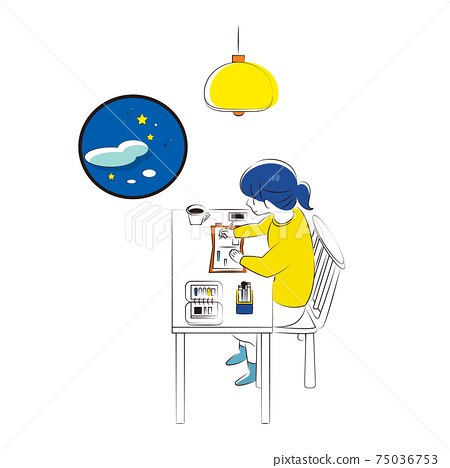 Woman relaxing in notebook time at night 75036753
