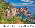 Vernazza Italy, city skyline at Cinque Terre of Vernazza village and Mediterranean sea 75037154