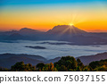 Tropical forest nature landscape view with mountain range sunrise with moving cloud mist at Huai Nam Dang National Park, Chiang Mai Thailand 75037155
