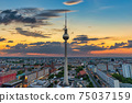 Berlin Germany, sunset city skyline at Alexanderplatz and Berlin TV Tower 75037159