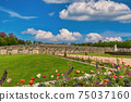 Berlin, Germany - May 10, 2017: flower garden at Sanssouci Palace, Potsdam Germany 75037160