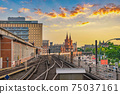Berlin Germany, sunset city skyline at Oberbaum Bridge and Berlin Metro 75037161