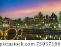 Amsterdam Netherlands, night city skyline of Dutch house at canal waterfront 75037166