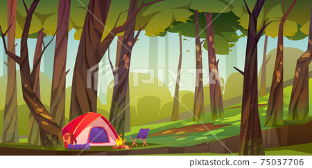 Camping tent with fire and tourist stuff in forest 75037706