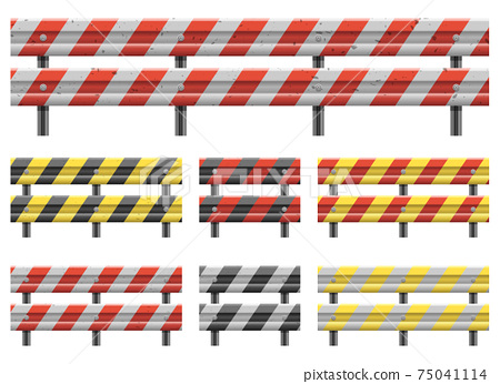 Metallic road barrier fence vector design illustration isolated on white background 75041114