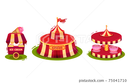 Circus Attribute with Striped Tent, Ice Cream Stall and Merry Go Round Vector Set 75041710