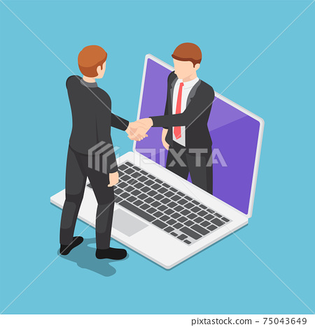 Isometric Businessmen Having Online Agreement and Shaking Hands Through Laptop Screen 75043649