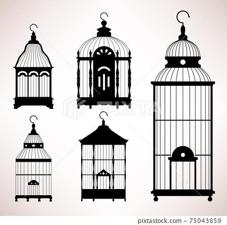 Bird Cage birdcage vintage retro silhouette.  75043859