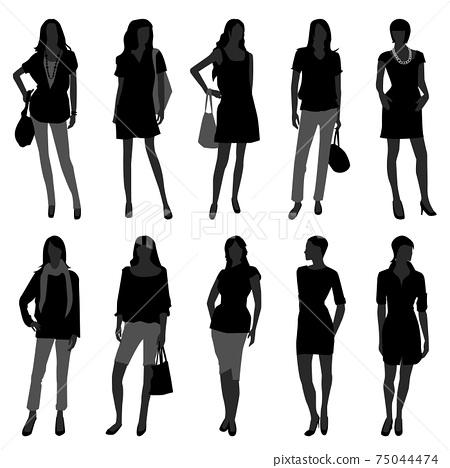 Woman Female Girl Fashion Shopping Model.  75044474