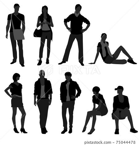 Man Male Woman Female Fashion Shopping Model.  75044478
