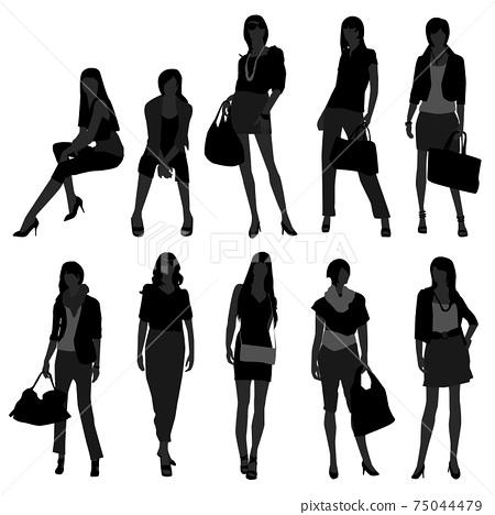 Woman Female Girl Fashion Shopping Model.  75044479