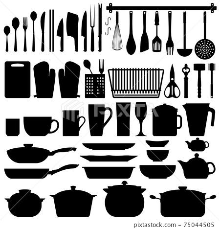 Kitchen Utensils Silhouette Vector.  75044505