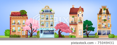 Vector house facades, vintage buildings street illustration with retro residential cottages, trees 75049431