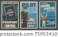 Aviation, passenger airlines vector retro posters 75053410