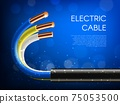 Electric cables laying, electricity supply banner 75053500