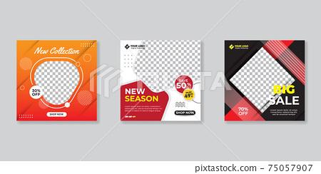 Modern promotion square web banner for social media mobile apps.Elegant sale and discount promo backgrounds for digital marketing 75057907