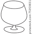 Stylish hand-drawn doodle cartoon style cognac brandy snifter glass vector illustration. For party card, invitations, posters, bar menu or cocktail cook book recipe 75059831