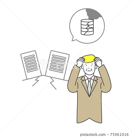 A managerial man worried about a server failure due to a disaster 75061016