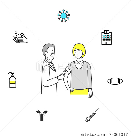 Icon set of doctors and coronaviruses to vaccinate patients 75061017