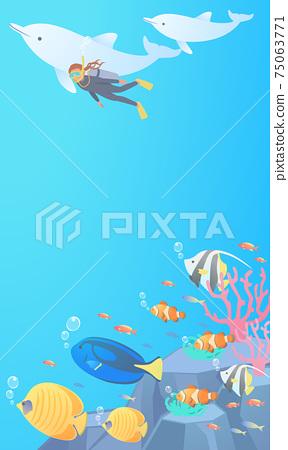 矢量圖的一個女人和海豚一起游泳,同時在海中潛水和熱帶魚被監視 75063771