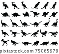 Black silhouettes  of dinosaurs on a white background 75065979
