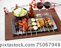 Image of yakitori, yakitori, skewers, and skewers. Serve with red wine and cabbage. 75067948