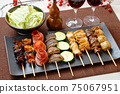 Image of yakitori, yakitori, skewers, and skewers. Serve with red wine and cabbage. 75067951