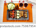 Image of yakitori, yakitori, skewers, and skewers. Serve with red wine and cabbage. 75067954