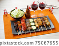 Image of yakitori, yakitori, skewers, and skewers. Serve with red wine and cabbage. 75067955