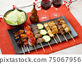 Image of yakitori, yakitori, skewers, and skewers. Serve with red wine and cabbage. 75067956