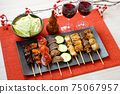 Image of yakitori, yakitori, skewers, and skewers. Serve with red wine and cabbage. 75067957