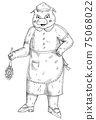 Pig is dressed in maid costume and wipes the dust. Hatching illustration 75068022