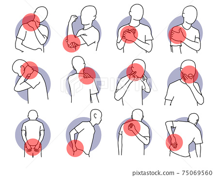 Pain and injury on human body parts.  75069560