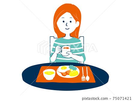 吃早餐的女人的插圖 75071421