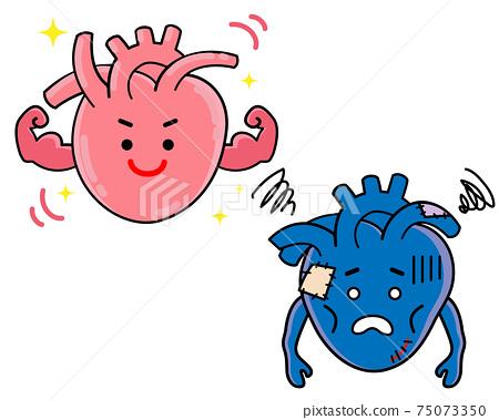 心臟健康疾病強弱插圖素材 75073350