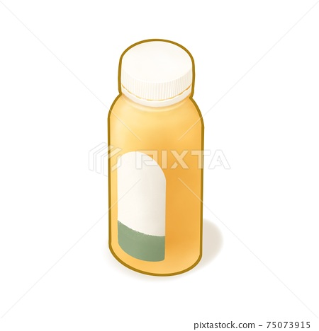 Orange juice drink, a digital painting of plastic bottle package of citrus juicy fruit beverage isometric cartoon icon raster 3D illustration on white background. 75073915