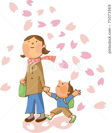벚꽃과 부모 75073969