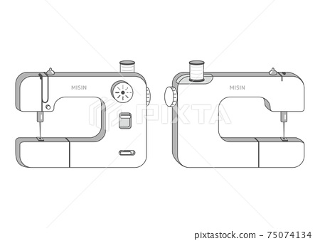 縫紉機正面和背面的插圖 75074134