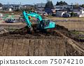 作業車挖掘機車施工現場房屋地面平整基礎工作的照片 75074210
