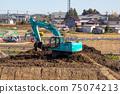 作業車挖掘機車施工現場房屋地面平整基礎工作的照片 75074213