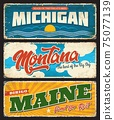 USA states Maine, Michigan, Montana signs plates 75077139