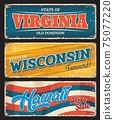 USA states Virginia, Wisconsin, Hawaii sign plates 75077220