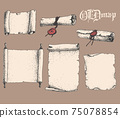 Vector hand drawn collection of antique scrolls and old paper. Sketchy style illustration. 75078854