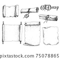 Vector hand drawn collection of antique scrolls and old paper. Sketchy style illustration. 75078865