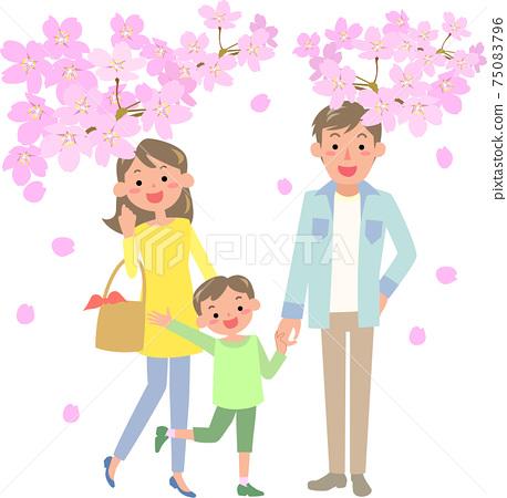 벚꽃을 보러 나가는 가족 75083796