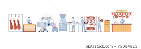 Stages production of natural meat production in manufacturing food factory. 75084815