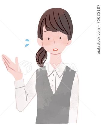 비즈니스 여성 안내 곤란 얼굴 75085187